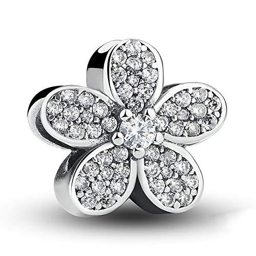 GaLon Joyería Pendiente de la Flor S925 Granos de Plata del Diamante Bricolaje Colgante Accesorio Compatible con Pandora y Pulseras Europeas Collares