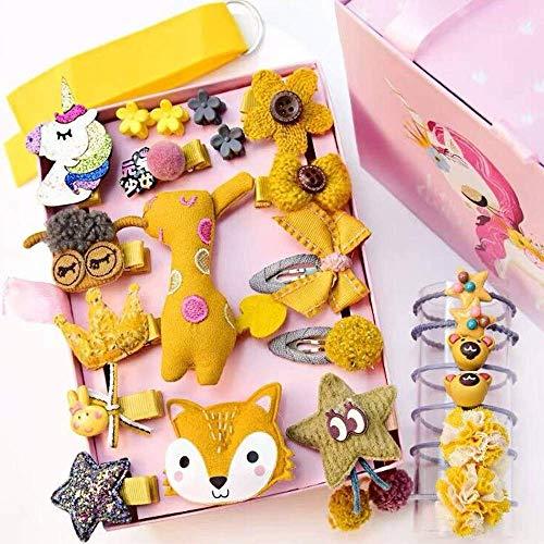 NFACE 24 stücke Geschenk Set Haarschmuck Baby Kleine Mädchen Haarspangen Bögen Haarspangen Haarnadeln Set Kopfschmuck (Gelb-D Stil)