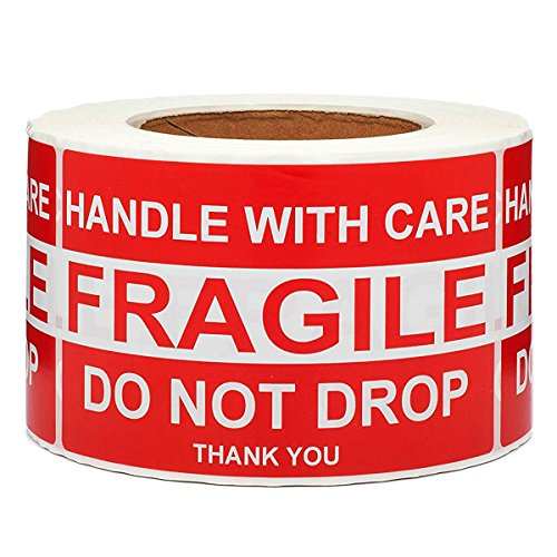 SJPACK Large Fragile Stickers 4'' x 6'' Eye-catching Fragile - Handle with Care - Do Not Drop - Thank You Shipping Labels(500 Labels/Roll) (1 Roll)