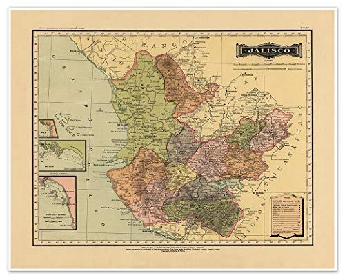 Antiguos Maps - Estado Libre y Soberano de Jalisco Map from Atlas Mexicano Circa 1884 - Measures 24 in x 30 in (610 mm x 762 mm)