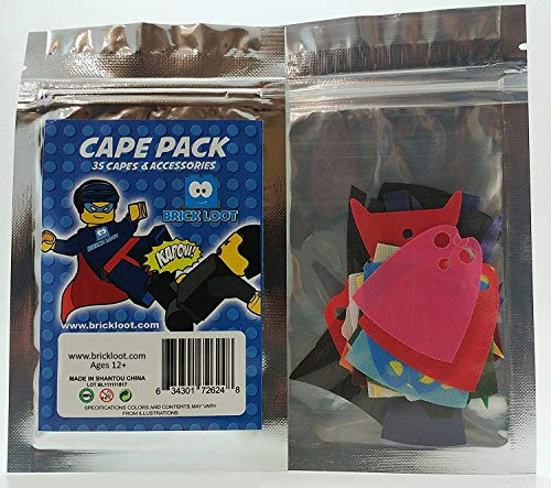 Brick Loot 35 Piece Super Hero Cape Pack for Your Lego Minifigures, Figs NOT Iincluded