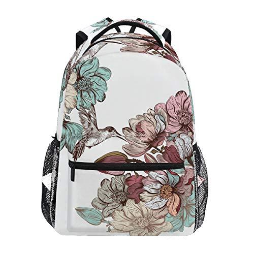 Malplena Tagesrucksack Kolibri und Blumen-Zeichnung Schultasche Wanderrucksack