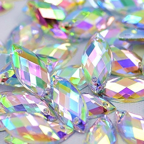 200pcs 7x15mm Horse Eye Shape Crystal AB Color Clear Sew On Acrylic Rhinestones Flatback Fancy Stones Sewing for Clothing Wedding Dress Decorations (Light Blue)
