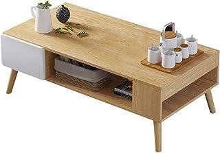BAKAJI Table Basse rectangulaire Design Moderne Bois MDF 2 tiroirs chêne, d'ingénierie, Unica