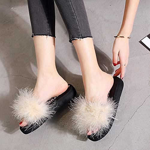 Zapatillas De Casa para Mujer Verano,Las Nuevas Zapatillas De Piel Gruesa De Peluche De Moda, Pendiente De Fondo Plano De Verano para Mujer con Flip-Flops, Desgaste Zapatillas De Playa De JardíN De T
