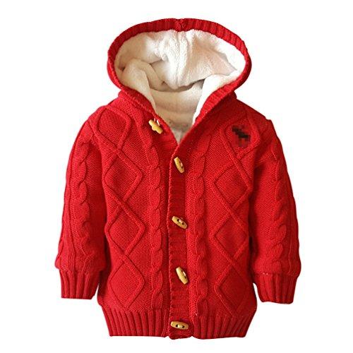 YuanDian YuanDian Baby Stricken Kapuzenpullover Verdicken Korallen Samt Unisex Warme Pullover Rot 78 (65-80CM)