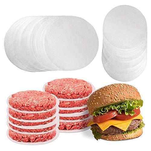 Gobesty Burgerpapier, 500 Stück Antihaftpapier Zuschnitte Antihaftes Trennpapier mit 11 cm Durchmesser für perfekte Hamburger, Cheeseburger, Patties
