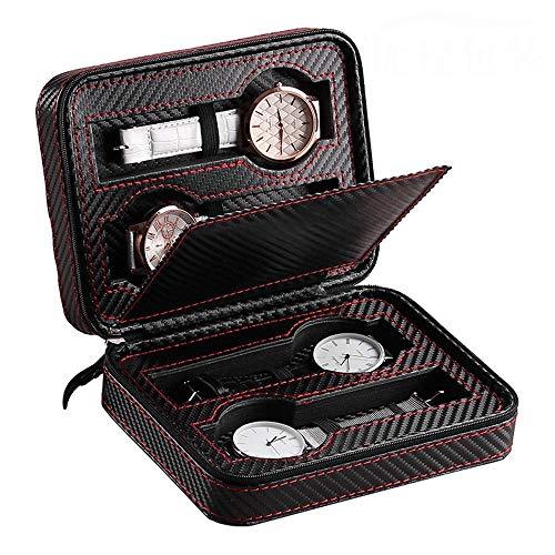 FYHH-JZHY Caja De Reloj De 4 Rejillas para Hombres Y Mujeres, Reloj con Cremallera, Caja De Presentación, Organizador, Estuche De Viaje, Cuero PU, Portátil, Uso Personal