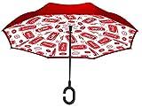 Coca Cola Cans Red Revers-A-Brella No-Drip Inverted C-Handle Stick Umbrella