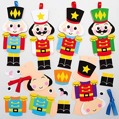 Baker Ross AX493 Nussknacker Soldat Mix & Match Deko Anhänger Bastelset für Kinder - 8 Stück, Festliche Kreativsets und Bastelbedarf zum Basteln und Dekorieren zur Weihnachtszeit
