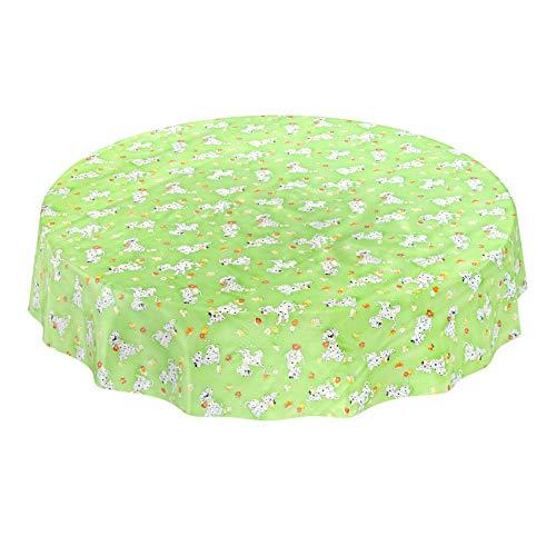 Hule Mantel encerado mesa mantel de hule lavable verde dalmatines Niños Diseño tamaño a elegir), toalla, sättige, beständige Farben, Rund 140cm