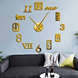 Relojes de pared Relojes de pareddelicados Estilo de números mixtos Inglés Árabe Números romanos Reloj de pared moderno Acrílico Efecto de espejo Etiqueta digital DIY Arte de pared gigante 47 pulga