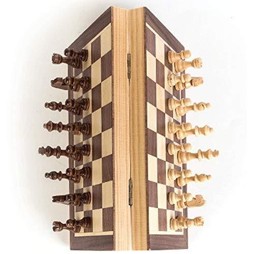TOOGOO Schach Aus Holz H?Lzerner Checker Board Massivholz Figuren Falten Schachbrett Hoch End Puzzle Schachspiel, 30 X 30 cm