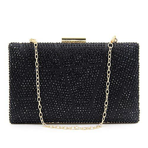 Dames handtas met modern patroon in zwart met diamanten, warm geperforeerd, geometrische mozaïek voor banket, bruidsjurk, koppelingstas voor avondparty, schouder, geschenk