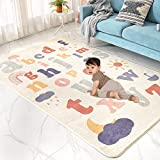 Abreeze Play Mat, Faux Wool Kids Play Area Rugs 4' x 5.3' Non-Slip Childrens Carpet ABC Number Educational Learning & Game Decor Living Room Bedroom Playroom Nursery Best Shower Gift