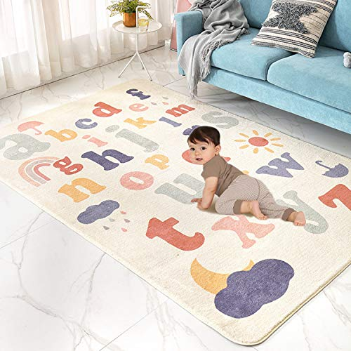 Satbuy Play Mat, Faux Wool Kids Play Area Rugs 4' x 5.3' Non-Slip Childrens Carpet ABC Number Educational Learning & Game Decor Living Room Bedroom Playroom Nursery Best Shower Gift