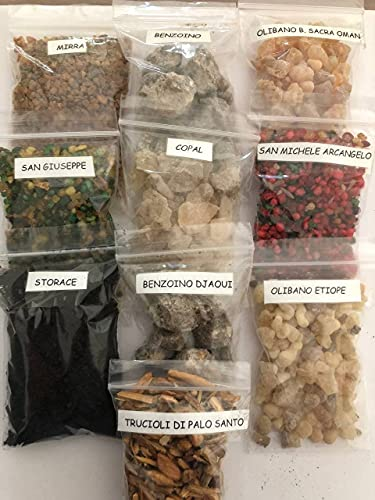 CRIGEMA - Set di 100g di incenso in grani puri, mix di Resine Naturali 10x10g in bustine con zip richiudibili