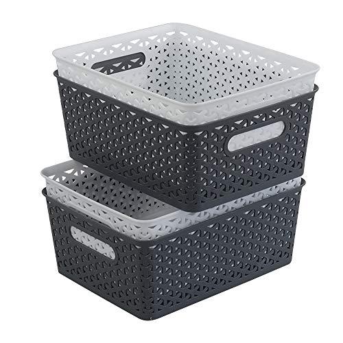 Ponpong Aufbewahrungskorb, gewebt, Kunststoff, 8 l, Weiß und Dunkelgrau, 4 Packungen