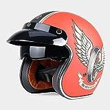 ZHXH Casco de moto Harley, Casco de moto abierto 3/4 Evergreen 3/4 abierto para adultos con certificación de lentes de contacto/punto,