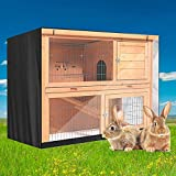 Excerando Rabbit Hutch Cover,Durable 210D Rabbit Cage Cover Double Layer Thermal Hutch cover Bunny Hutch Cover,Rabbit hutch Covers for the Winter - 48