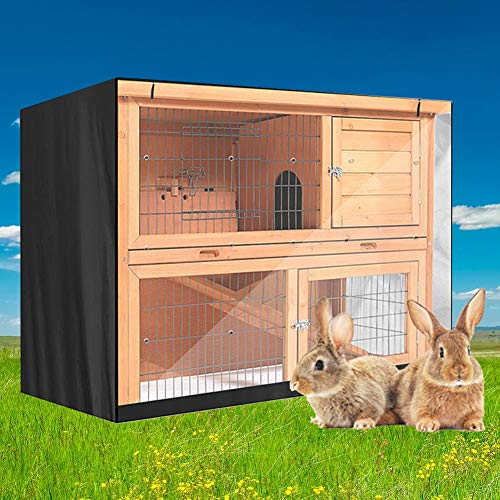 Excerando - Funda de conejo, duradera 210D para jaula de conejo, cubierta térmica de doble capa, cubierta de conejo, cubierta de conejera para el invierno