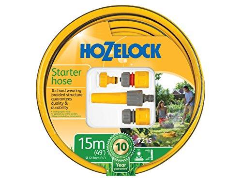 Hozelock 7215P9000 15m Starter Hose & Fittings Set, Yellow