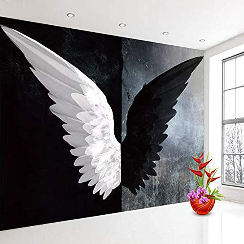 Custom 3D Photo Wallpaper Nordic Modern Creative Black White Angel Wings Art Wall Painting Living Room Bedroom Home Decoration Cchpfcc 280X200CM