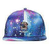 VIC&WIN Galaxy Cap&Star Hat American Flag Dog 4th of July Cool Beanie Hats Fan Fashions Dad Baseball Hats Adjustable Blue