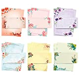 ANZON MORIES A4 Japanese Stationery Paper and Envelopes Set, 48 Letter Writing Paper with 24 Self-Sealing Envelopes, Printer Friendly, Color Both Sides, Ink Painting Classic Vintage Floral Design