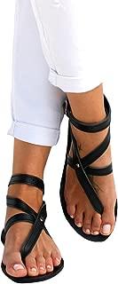 Womens Flip Flop Bevelled Strap Flat Sandals Boho Criss Wrap Beach Gladiator Fisherman Shoes