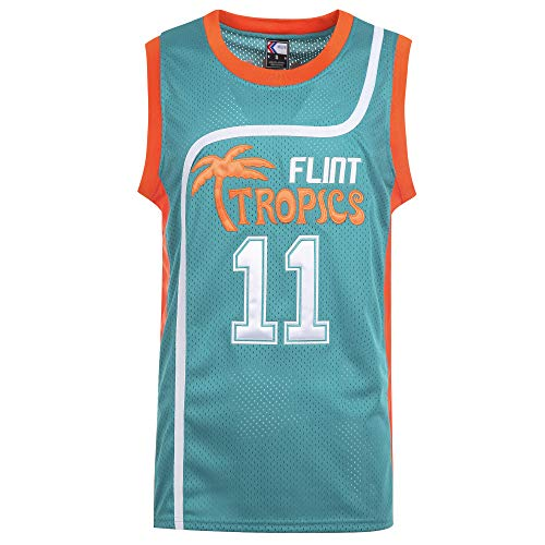 MOLPE Monix 11 Flint Tropics Jersey, Halloween Costume, 90S Clothing for Men, Stitched Letters and Numbers (Green, M)