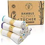 Premium Bambus Putztücher | 6 STK | 30x30cm | waschbar | Nachhaltig | Allzwecktücher, Geschirrtücher, Reinigungstücher, Putzlappen, Spültuch | Tücher auch für Spiegel & Fenster