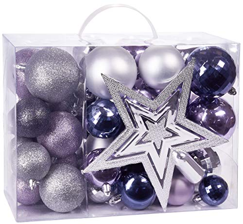 BRUBAKER 50ct Christmas Ball Ornaments - Shatterproof - with Tree Top - Baubles - Christmas Tree Decorations - Purple & Silver