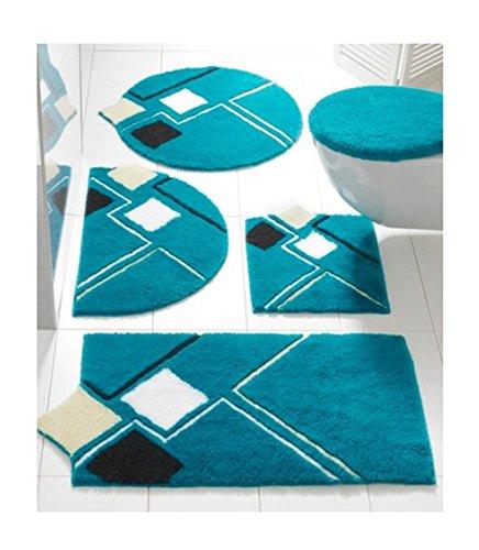 Tappetino da bagno, tappetino da doccia in un design moderno, colore blu, taglia 8: 50 x 80 cm semicircolare