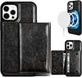 Luxury Leather MagSafe Wallet case with Detachable Magnetic Card Holder for iPhone 12 pro Max Compatible with All Apple MagSafe Accessory-Wireless charging-Kickstand-360º Shockproof Design (Black)