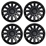 Tuningpros WC3-15-610-B - Pack of 4 Hubcaps - 15-Inches Style Snap-On (Pop-On) Type Matte Black Wheel Covers Hub-caps