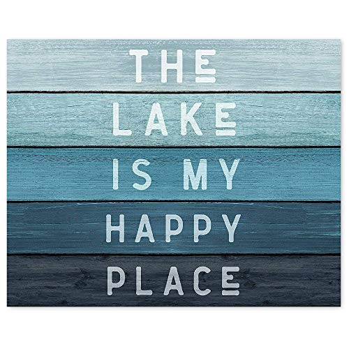 Farmhouse The Lake is My Happy Place Poster Prints, Set of 1 (8x10) Unframed Photo, Wall Art Decor Gifts Under 15 for Home, Office, Kitchen, Bathroom, Lake House, Lake Life and Boating Fan…