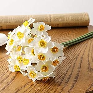 Silk Flower Arrangements 6pcs Artificial Narcissus Flower Real-Touch Silk Narcissus Flowers Fake Daffodil Artificial Plant Wedding Flowers Decoration(White)