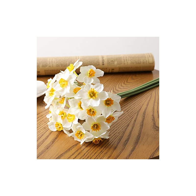 silk flower arrangements panin 6 pcs/bunch artificial flowers faux daffodil, real touch bouquet for wedding home office festival party hotel restaurant decoration(white)