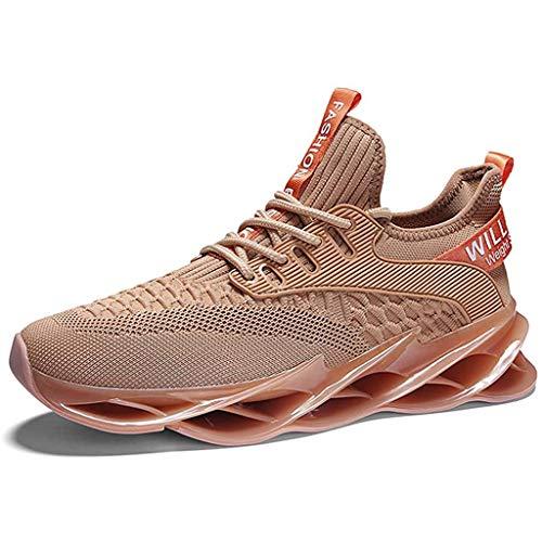 XIALIUXIA Slip on Blade Mesh Fashion Men's Sneakers, Breathable Fashion Ultra Lightweight Sport Gym Shoes Mens Cross Training Casual Shoes,B,38