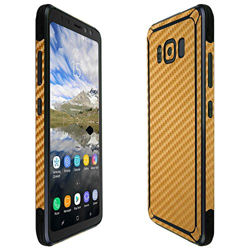 Skinomi Gold Carbon Fiber Full Body Skin Compatible with Galaxy S8 Active (Full Coverage) TechSkin with Anti-Bubble Clear Film Screen Protector