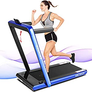 ANCHEER Treadmills for Home,2 in 1 Folding Treadmill Machine with Remote Control and Bluetooth Speaker, New Levels Under…