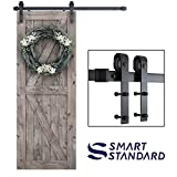 SMARTSTANDARD 5ft Heavy Duty Sturdy Sliding Barn Door Hardware Kit -Smoothly and Quietly -Easy to Install -Includes Step-by-Step Installation Instruction Fit 30' Wide Door Panel (J Shape Hanger)