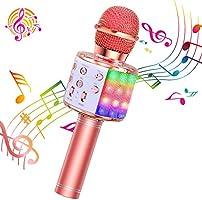ShinePick Micrófono Karaoke Bluetooth, 4 en1 Microfono Inalámbrico Portátil con Luces LED para Niños Canta Partido...