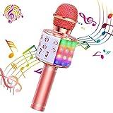 ShinePick Micrófono Karaoke Bluetooth, 4 en1 Microfono Inalámbrico Karaoke Portátil con Luces LED pa...