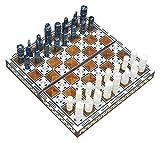 WECDS Ajedrez y backgammon hecho a mano en Egipto, dos juegos en uno de 35 x 35 x 4 cm (fondo marrón) (color: negro, tamaño: 35 x 35)