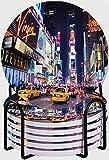 CIKYOWAY Posavasos para Bebidas,Ciudad DE Nueva York Times Square Broadway Teatros y letreros LED Animados Nueva York Estados Unidos Juego de 6 Posavasos absorbentes con Soporte de Metal,para Casa