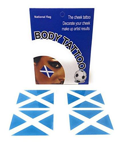 Länderflagge-Tätowierung-Gesichts-Aufkleber-Sport-Anhänger-Weltmeisterschaft-Leichtathletik-Rugby-Fußball-Fußball Großbritannien GB Schottland (5 Packs, Schottland)