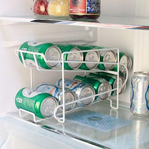 HYLXF Rack di stoccaggio Frigorifero da cucina Bevanda fresca Birra di cola Lattina di stoccaggio Cestello di finitura solido a doppio strato Cestello di conservazione