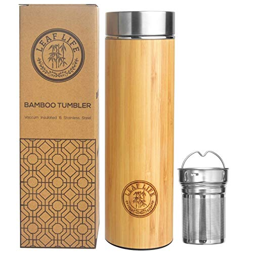 LeafLife Sustainable Bamboo Tumbler with Tea Infuser & Strainer- 17oz capacity- Keeps Hot & Cold for 12 Hrs- Vacuum Insulated Stainless Steel Travel Tea Mug- Infuser Bottle for Loose Leaf Tea & Coffee
